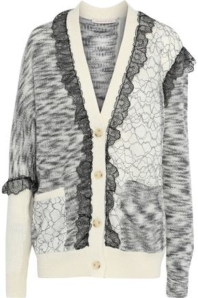 CHRISTOPHER KANE Layered lace-paneled mélange mohair-blend cardigan