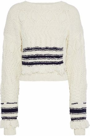 DEREK LAM Fringe-trimmed striped wool and silk-blend sweater