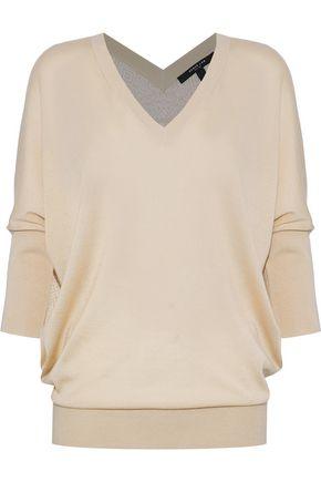 Printed Silk Paneled Cashmere Sweater by Derek Lam