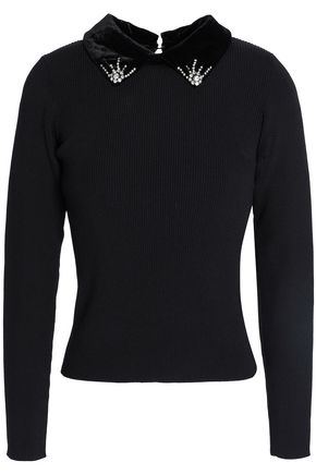 SANDRO Faux fur-trimmed embellished stretch-knit sweater