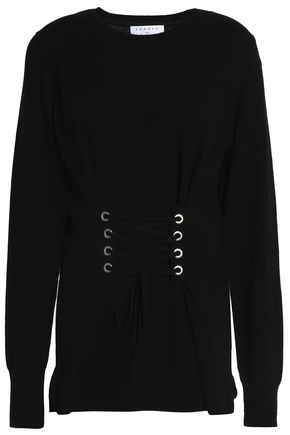 SANDRO Robine lace-up wool and cashmere-blend sweater