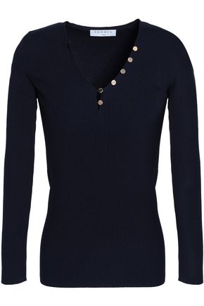 SANDRO Button-detailed stretch-knit top