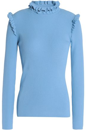 SANDRO Pull spoon ruffle-trimmed ribbed-knit turtleneck top