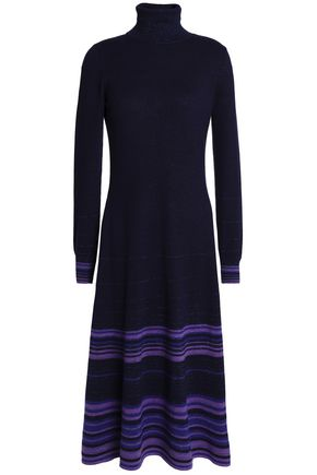AGNONA Striped metallic cashmere-blend midi dress