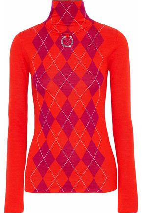 STELLA McCARTNEY Ring-embellished argyle wool turtleneck sweater