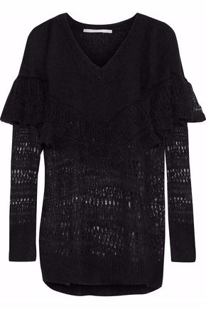 STELLA McCARTNEY Ruffled open-knit mohair-blend sweater