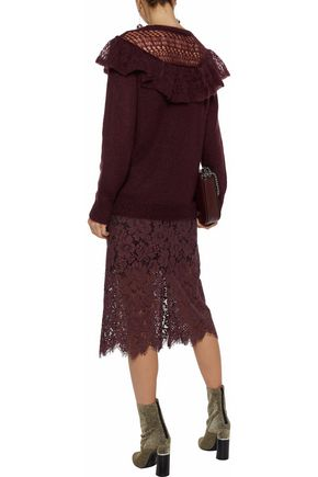 STELLA McCARTNEY Ruffled open knit-paneled mohair-blend sweater
