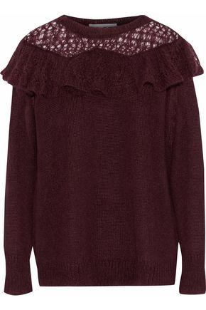 STELLA McCARTNEY Ruffled open knit-paneled mohair-blend sweater
