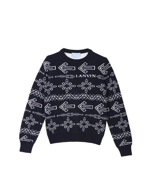 NAVY BLUE JACQUARD SWEATER  - Lanvin