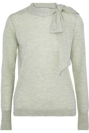 AUTUMN CASHMERE Pussy-bow mélange cashmere sweater