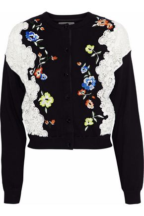 ALICE + OLIVIA JEANS Leena lace-paneled embroidered stretch-cotton cardigan