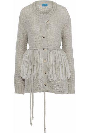 M.I.H JEANS Rocca fringe-trimmed open-knit cardigan