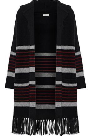 JOIE Gabrina striped wool and yak-blend hooded cardigan