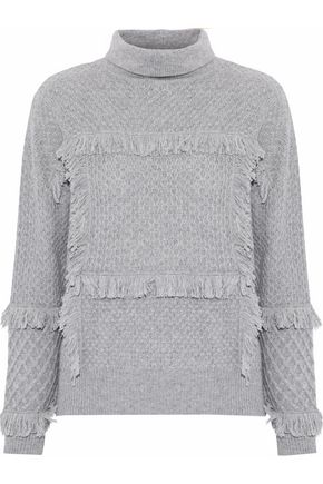 JOIE Paisli fringe-trimmed cable-knit sweater