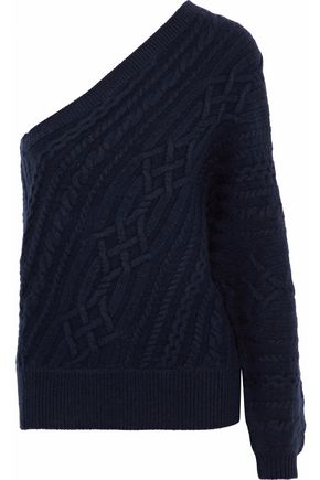 JOIE Orella one-shoulder cable-knit wool and yak-blend sweater