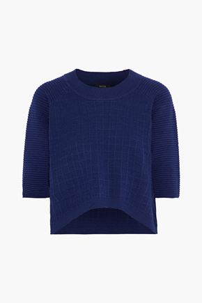 RAOUL Cropped waffle-knit cotton sweater