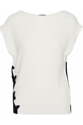 RAOUL Lace-up two-tone cotton sweater