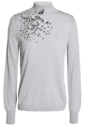 DELPOZO Sequin-embellished metallic stretch-knit turtleneck sweater