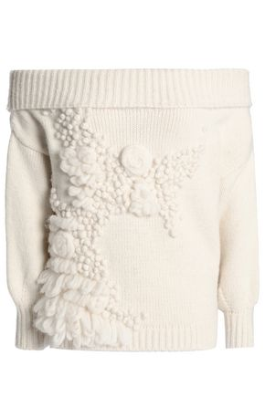 DELPOZO Off-the-shoulder embroidered alpaca-blend sweater