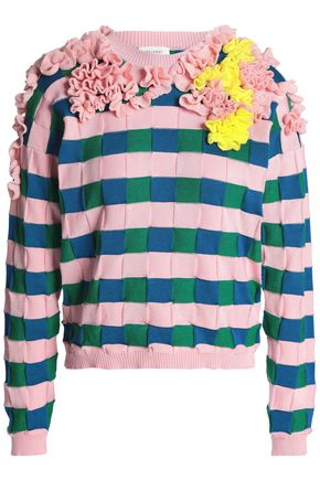 DELPOZO Ruffled cotton-jacquard sweater