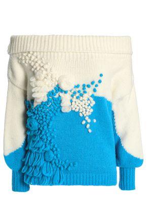 DELPOZO Off-the-shoulder two-tone alpaca-blend bouclé sweater