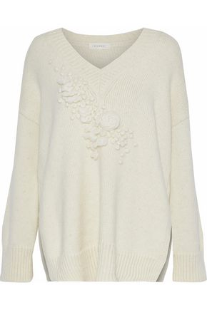 DELPOZO Bouclé-trimmed alpaca-blend sweater