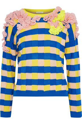 DELPOZO Ruffled striped cotton sweater