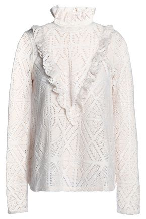 SEE BY CHLOÉ Ruffle-trimmed pointelle-knit turtleneck sweater