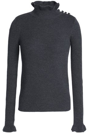 SEE BY CHLOÉ Ruffle-trimmed ribbed wool turtleneck sweater