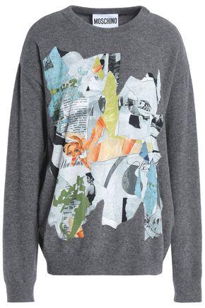 MOSCHINO Appliquéd stretch-knit sweater