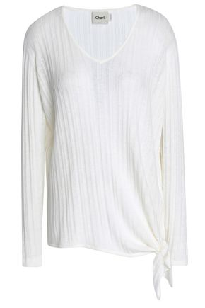 CHARLI Tie-front ribbed-knit top