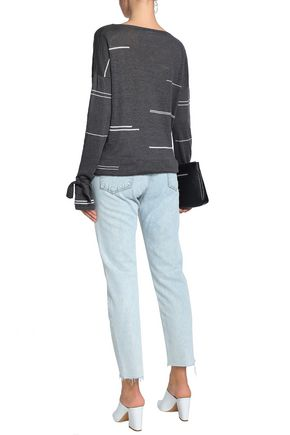 CHARLI Tie-detailed striped linen sweater