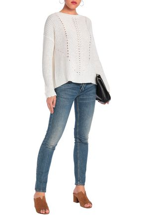 CHARLI Lace-up pointelle-knit cotton sweater