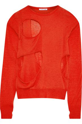 HELMUT LANG Cutout wool and silk-blend sweater