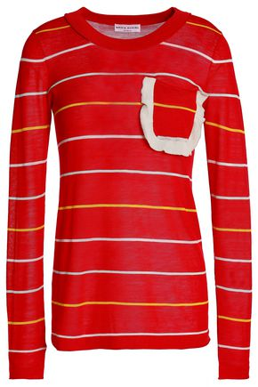 SONIA RYKIEL Ruffle-trimmed striped cotton and silk-blend sweater