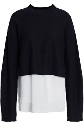 JOSEPH Layered striped poplin and knitted sweater