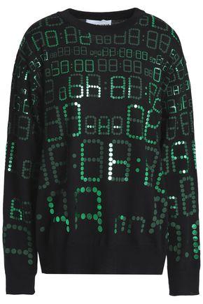 MOSCHINO Metallic printed wool sweater