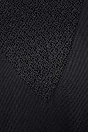 MAJE Paneled lace and ribbed-knit top