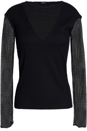 MAJE Paneled lace and ribbed-knit top