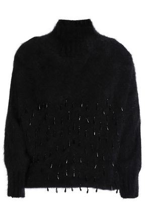 ALBERTA FERRETTI Bead-embellished embroidered wool-blend turtleneck sweater