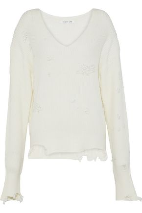 HELMUT LANG Distressed ribbed cotton and wool-blend sweater