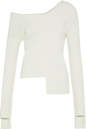 HELMUT LANG One-shoulder asymmetric ribbed-knit sweater