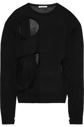 HELMUT LANG Cutout wool and silk-blend sweater