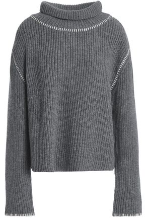 MOSCHINO Ribbed wool and cashmere-blend sweater
