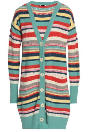 VILSHENKO Striped wool and cashmere-blend cardigan