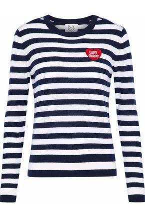 ZOE KARSSEN Appliquéd striped cashmere sweater