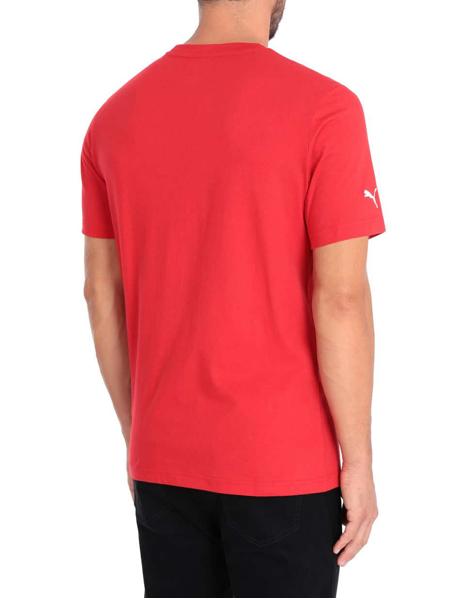 Scuderia Ferrari Online Store - Puma short-sleeve T-shirt with yellow Shield for men - Short Sleeve T-Shirts