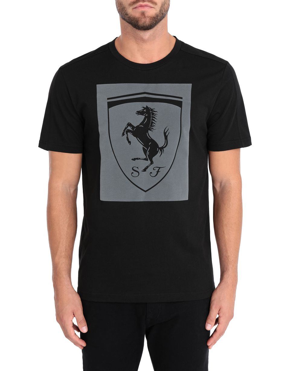 Scuderia Ferrari Online Store - Men's short-sleeve Puma T-shirt with Shield - Short Sleeve T-Shirts