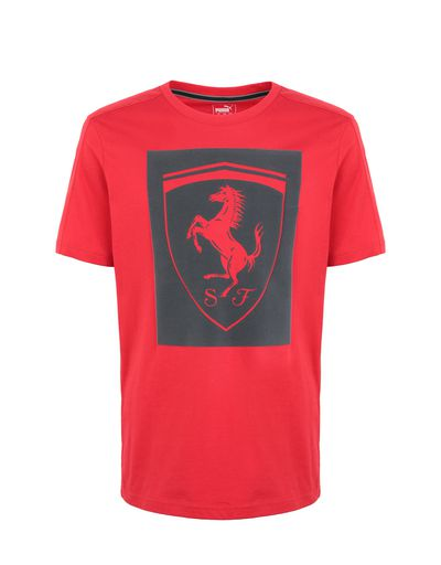 Scuderia Ferrari Online Store - Puma short-sleeve T-shirt with Shield for men - Short Sleeve T-Shirts