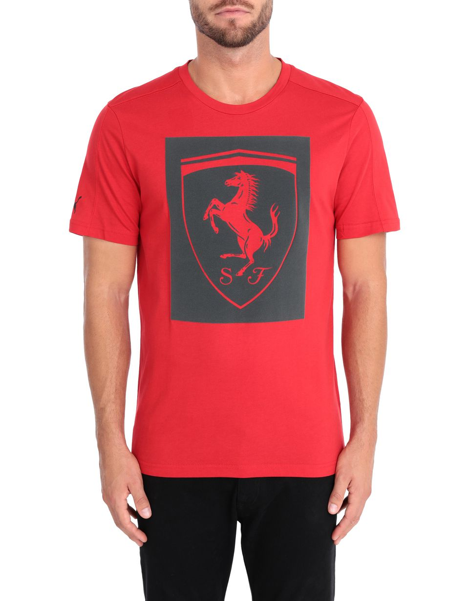 Scuderia Ferrari Online Store - Puma short-sleeve T-shirt with Shield for men - Short Sleeve T-Shirts